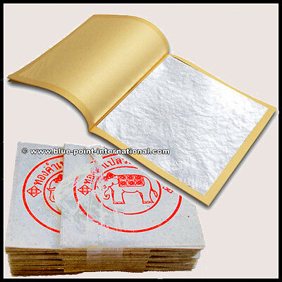 100 Silver Leaf Leaves - 999/1000 Pure - 24 Carats - Edible - Gold Food Grade