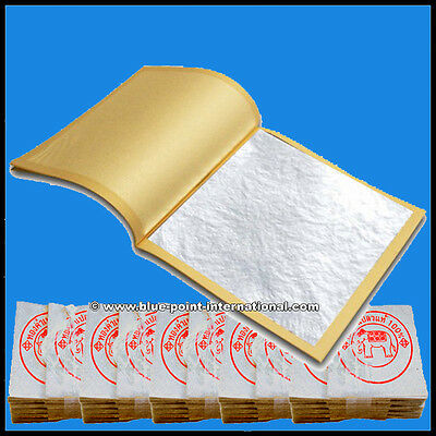 500 Silver Leaves Leaf - 24 Carats - 999/1000 Pure - Edible - Gold Leaf Sheets