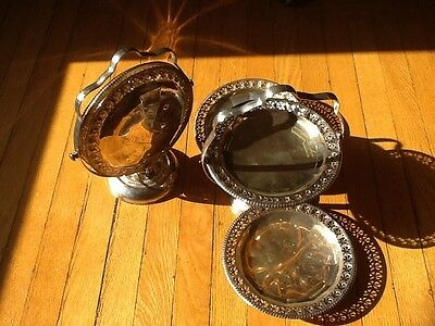 """Matching Vintage (3) tiered foldable Silver Plate """"petits four"""" trays c. 1940"""