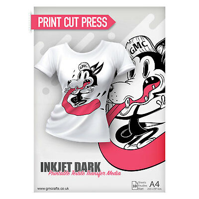 10 x A4 Printable HTV Iron On T Shirt Transfer Paper - Inkjet Dark