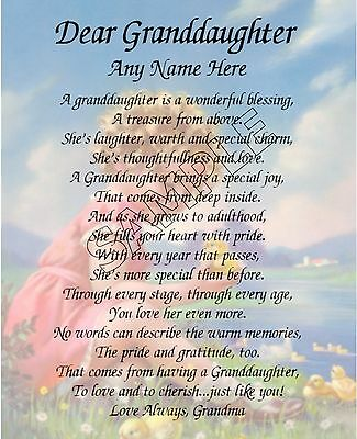 Dear Granddaughter Personalized Art Poem Image Memory Birthday Gift