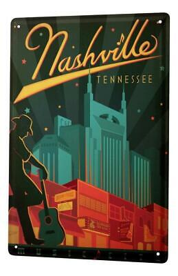 Tin Sign Deco City  Nashville Tennessee Cowboy Guitar 8X12""