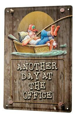 Decorative Tin Sign Funny Signs  Office day boat fishing man sleeping Fun Metal