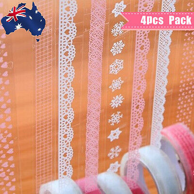 4 Rolls Lace Crown Sticky Tape Sticker Trim Label Scrapbooking Paper White Pink