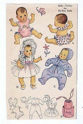 "1493 Vintage Baby Doll Pattern - Size 11.5"" - Year 1949"