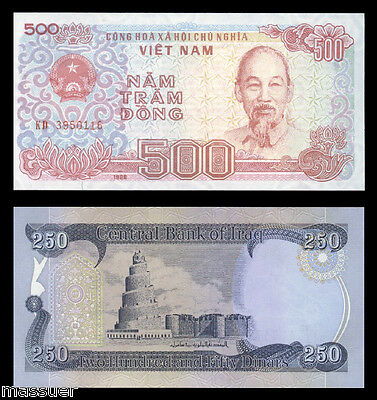 New Iraqi Dinar 250 - Plus1 Free 500 Vietnamese Dong  Uncirculated Only 49 Sets