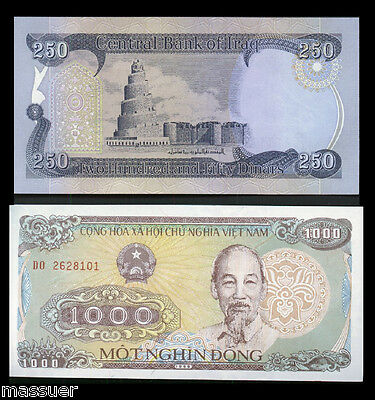 Iraqi Dinar 250  +1 Free 1000 Vietnamese Dong  Uncirculated 25 Sets Left