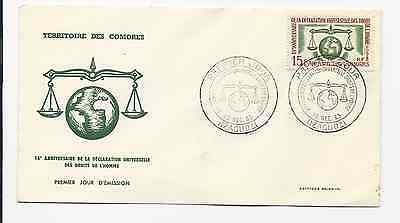 Comoro Islands Official Fdc 1963 Scott # 56 Human Rights Free World Shipping