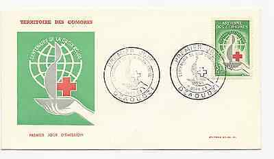 Comoro Islands Official Fdc 1963 Scott # 55 Red Cross  Free World Shipping
