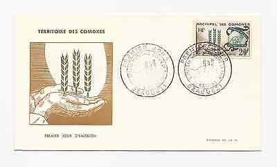 Comoro Islands Official Fdc 1963 Scott # 54 Freedom From Hunger  Free Ship