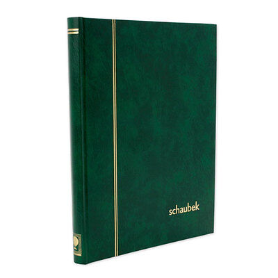 Stamp Stockbook-Schaubek. 16 black pages/32 sides. 10 strips per page-Green