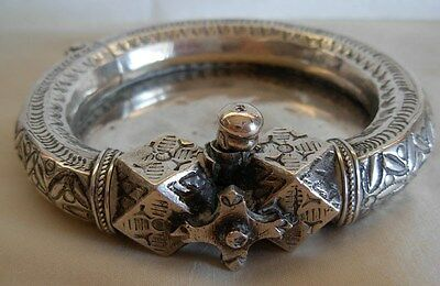 OLD  EGYPTIAN SILVER BRACELET THATS BEEN  TURNED  INTO A DISH -- 138 grams