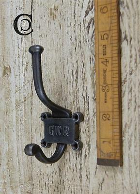 1 Cast Iron Gwr Railway Hat & Coat Hook 2 Part Repro Vintage Inc Screws
