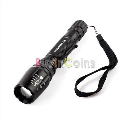 1600Lumen Cree XM-L T6 LED Zoomable Focus Black Flashlight Torch Clip Bright