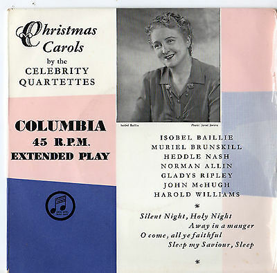 "Christmas Carols by The Celebrity Quartettes 7"" Ep 1950s"