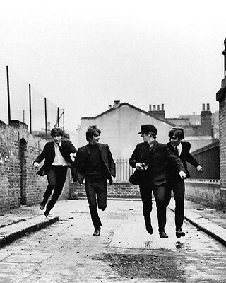A Hard Day'S Night 24x36 B&W Poster The Beatles running in alley classic image