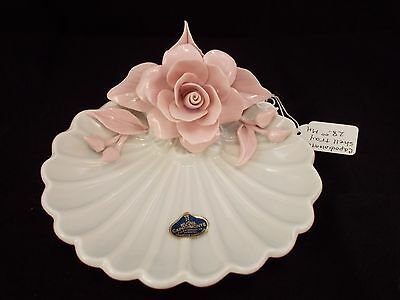 Vintage Capodimonte Pink Rose on White Shell