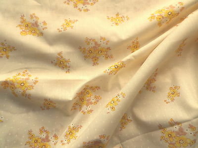Vintage 1970's Poly-Cotton Fabric Retro Design Yellow Flower Bunches White Spots