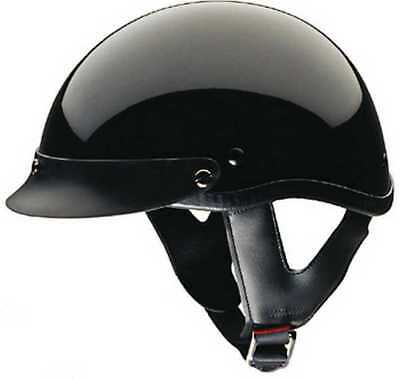 HCI Gloss Black Motorcycle Half Helmet with Visor - ABS Shell 100-110