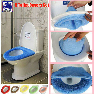 5x Toilet Seat Cover WC Bathroom Warmer Closestool Washable Cloth Soft Seat Lid
