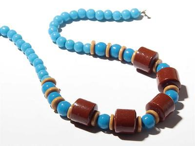 "17"" Vintage Czech Bohemian necklace red blue brown Prosser trade glass beads"