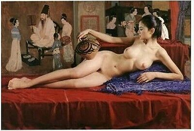 Handcrafted Portrait Oil Painting on Canvas,Classical Nude 24x36inch