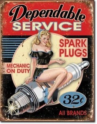 Big 40x31 cm  DEPENDABLE SERVICE Pub Retro Garage Tin Metal Sign Man Cave Bar
