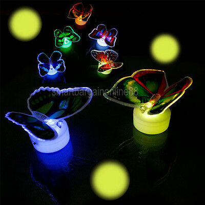 7 Color Changing Fiber Optic Flashing LED Butterfly Party Light Lamp Decoration