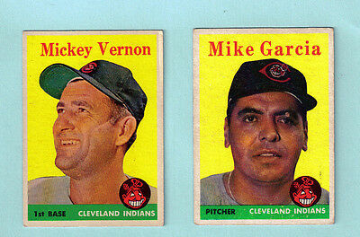 1958 Topps Lot of 34 Cleveland Indians - Beckett $332 - Nice !