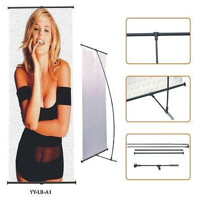 "L Banner Expoban Stand with Full Color Print 36""x80"" / Trade Show Display Stand"