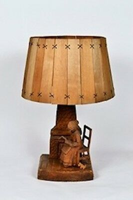 Handcrafted Wooden Lamp with Wood Shade