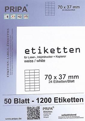 1200 Labels 70x37mm Auf 50 Sheets A4 Ink / Laser/Copy Gluing Self-Adhesive