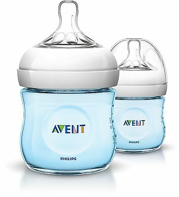 Avent Natural Feeding Bottle 125Ml 2 Pack - Blue