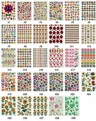 #384S Floral Flower Insect Bug Reward Animal Craft Card Scrapbooking Stickers