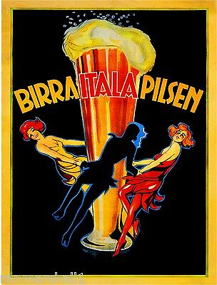 Birra Italia Pilsen Beer Wine Italy Vintage Advertisement Art Poster Print