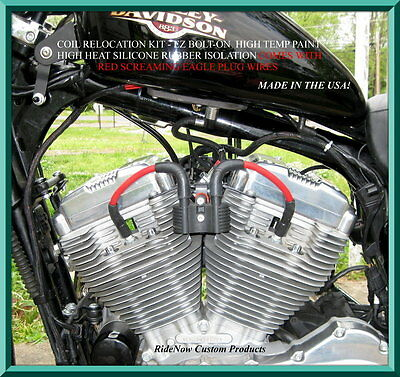 Racing Plug Wires & Coil Relocation Fits All Sportsters