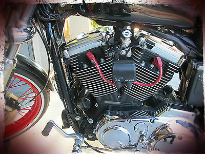 1995-2003 Harley Sportster Coil & F6 Key Relocation Black Plug Wires