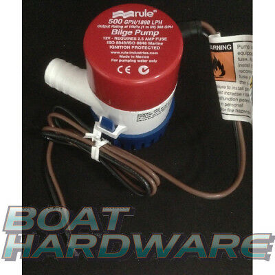 GENUINE Rule Brand 12V BILGE BAIT PUMP 500 GPH or 1890 LPH Electric 3YR WTY