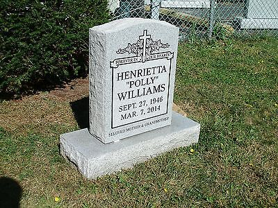 CEMETERY HEADSTONE- gray- multiple engraving options