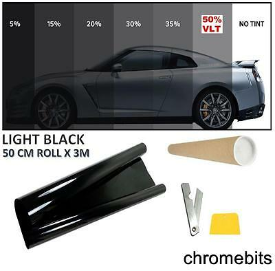 Black Window Tint Film Car Office Home Tinting Kit Light 50% 50 X300Cm