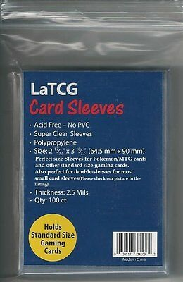 100 LaTCG Pokemon TCG/MTG Magic the Gathering Perfect Size Clear Penny Sleeves