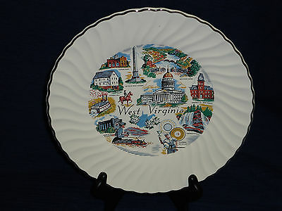 """WEST VIRGINIA souvenir 9.25"""" State Collector's Plate with scalloped edge"""