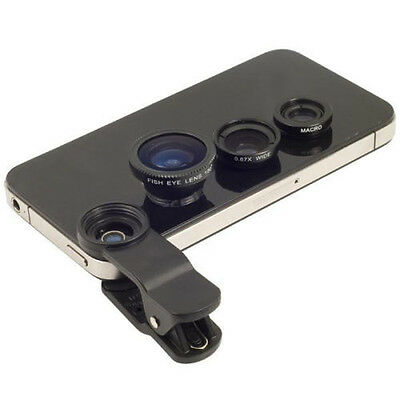 Universal 3in1 Clip-On Fish eye Lens Wide Angle Macro selfie For iPhone 6 5C 5S