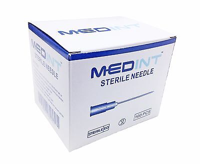 "Box of 100 Hypodermic Needles 22G x 1"" MedInt Sterile Disposable Needle Special"