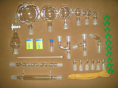 30PCS,New Chemistry Glassware Kit,Labora​tory Glass kit,W/24/​29 Ground Joint