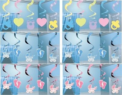 5 X 2Ft Baby Shower Party Hanging Swirls Christening Boy Girl Banner Decorations