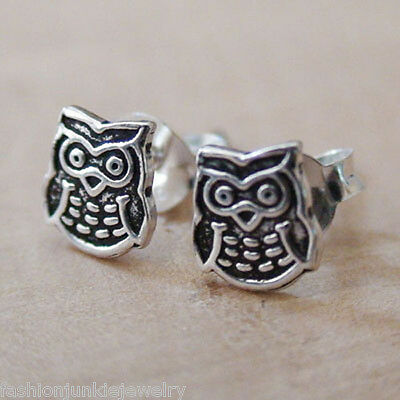 Tiny Owl Earrings - 925 Sterling Silver - Wise Owls Stud Hoot Post Bird Gift NEW
