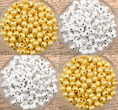 Lots SILVER & GOLD Round Stardust COPPER Ball Spacer BEADS 4MM 6MM 8MM 10MM 12MM