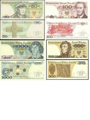 6 Banknotes From Poland  - Mint Unc Polish Zloty 50 100 200 500 1000 10000 New