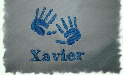 Personalized Baby Toddler Boy Blanket Blue Hands